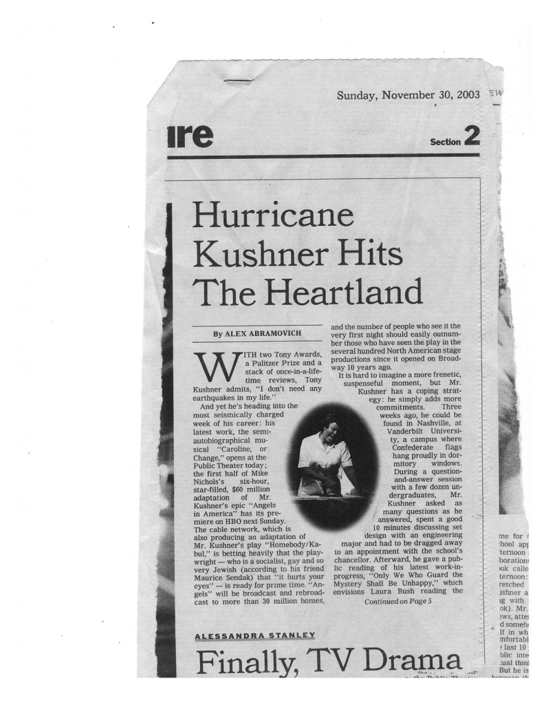 T Kushner Quote NY TImes  pg 1 fin